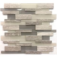 Avenzo 12-in x 12-in 3D Wooden Light Grey Stone and Glass Linear Mosaic Wall Tile   Lowe's Canada 9.99