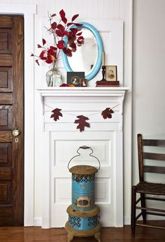 Don't have a mantel in your home for fall decorating? Blogger Anita Diaz devised this genius way to upcycle an old door into a mantel by adding a shelf, some trim molding, and attaching it to a wall.