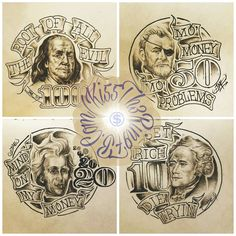 Tattoo Art Money Presidents Banner Sketch Freehand Custom