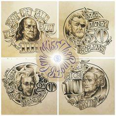 "Money Presidents Banner Drawing Sketch Illustration Tattoo Flash Art _____________________________ 2 Likes, 1 Comments - Jae Baybay (@jaeeeallldaaay) on Instagram: ""Custom 3"" x 3"" [[ Dead Presidents ]] sketches I did as tattoo flash examples for my lady & I's…"""