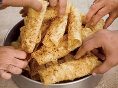 """""""The woman who made the diples [fried dough] was like my grandmother—she wore a bib apron 24 hours a day,"""" Michael Psilakis says. More Recipes b. Nut Recipes, Pastry Recipes, Greek Recipes, Wine Recipes, Dessert Recipes, Greek Meals, Recipies, Greek Sweets, Greek Desserts"""