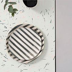 My Striped Plates and a Black and White Diamond getting cosy on a beautiful @olivia_aspinall tabletop #pottery #keramik #interior #home #hackney #hoxton #hjem #skandihus #danish #danskdesign #danishdesign #scandinaviandesign #scandinavian #scandinavianstyle #monochrome #minimal #minimallove #design #lovemyjob #handmade #crafts #londonfoodies #rustic #foodie #handmadeplates #madeinlondon #clay #stoneware #stripes