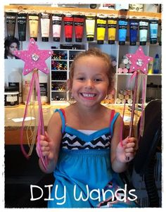 Pink DIY Wands ... click to see easy directions and some other kids crafts too !