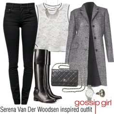 Serena Van Der Woodsen inspired outfit/GG by tvdsarahmichele on Polyvore featuring RD Style, Michael Kors, Proenza Schouler, Christian Louboutin, Chanel, Larsson & Jennings and Larkspur & Hawk