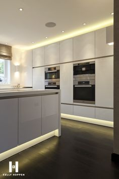 Kelly Hoppen Kitchen, we love the simplicity and the subtle plinth lighting!