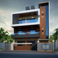 Modern House Design In India 3 Storey House Design, Bungalow House Design, House Front Design, Modern Bungalow Exterior, Modern Exterior House Designs, Exterior Design, Modern Small House Design, Home Building Design, Facade Design
