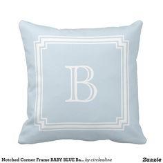 Notched Corner Frame BABY BLUE Background Monogram Pillow
