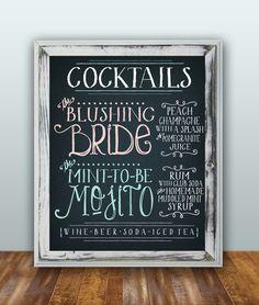 CUSTOM groom and bride Drink menu.