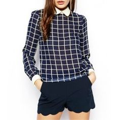 Trendy Style Peter Pan Collar Long Sleeve Checked Chiffon Women's Blouse