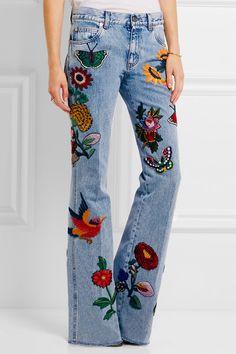 287b9c92e947c Gucci For. Gucci Embroidered JeansEmbroidered ClothesJean ...