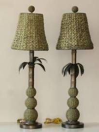 Rattan Styled Palm Tree Lamps  -  $30