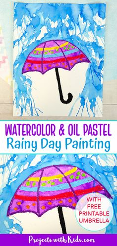Kids will use blow painting with straws and oil pastels to make this awesome watercolor rainy day painting! A fun spring art project with a free printable umbrella template. Spring Arts And Crafts, Spring Art Projects, Projects For Kids, Summer Crafts, Drawing Activities, Craft Activities For Kids, Preschool Crafts, Kids Crafts, Kindergarten Activities