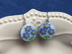 Blue Daisy Bouquet  Vintage Glass Button Earrings with Blue