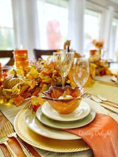 Dining Delight: Thanksgiving Tablescape for a Small Gathering Thanksgiving Table Settings, Thanksgiving Tablescapes, Thanksgiving Feast, Homemade Buns, Basket Tray, Leaf Bowls, Pumpkin Soup, Little Pumpkin