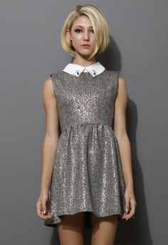 Sleeveless Tweed Dress with Decor Collar - Party - Dress - Retro, Indie and Unique Fashion