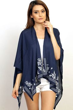 Floral Embroidered border Kimono