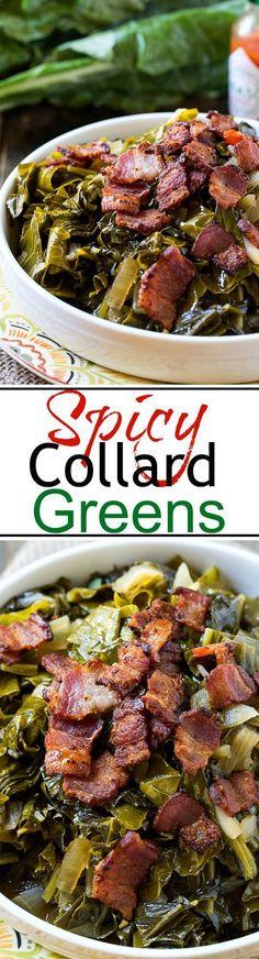 Spicy Collard Greens with Vinegar, Bacon & Tobasco #Southern #lowcarb #healthy | https://lomejordelaweb.es/