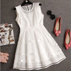"""Item Type:Dress Material:Cotton Sleeve Length:Sleeveless Collar:Round Neck Pattern:Solid Color Style:Fashion Color:Photo Color XS (US size) Bust: 31-33"""", Waist: 23-25"""", Hips: 33-35"""" S (US size) Bust:"""