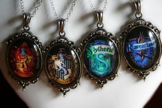 Hogwarts House Pendants. Oh my goodness.........