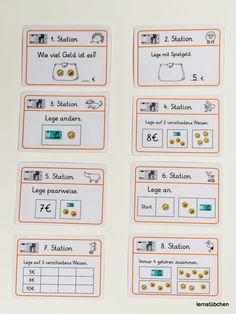 hier eine Vorschau auf die Stationskarten zum Geld im ZR bis 10 € Im Laufe des Tages werde ich das Material und einen Arbeitspla...