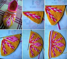 Colorful Slippers Pattern New (Free Crochet Patterns & Free Knitting Patterns Doily Towel Edge Patterns crochê lace) Loom Knitting, Knitting Socks, Knitting Patterns Free, Free Knitting, Crochet Ripple, Tapestry Crochet, Free Crochet, Tunisian Crochet, Slippers
