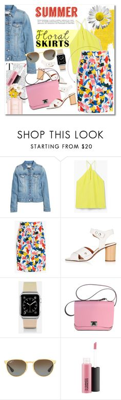 """Summer floral skirts"" by vkmd on Polyvore featuring MANGO, J.Crew, Topshop, Casetify, Ray-Ban, MAC Cosmetics, Marc Jacobs and Floralskirts"