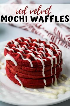 This easy scratch made red velvet mochi waffles recipe will have you   coming back for seconds. Chewy interior with just the right crunchy   exterior, vibrant red hues, and a drizzle of cream cheese make this your   ultimate breakfast go to. Nutella Crepes, Crepes And Waffles, Baked Breakfast Recipes, Breakfast Bake, Baking Recipes, Dessert Recipes, Bisquick Recipes, Sushi Recipes, Gourmet Desserts