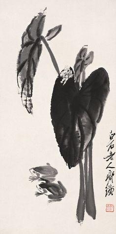 齐白石 芋叶青蛙 68.6×34.2cm