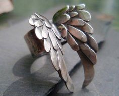 Sterling Silver Wings Ring by ArtigianoJewelBox on Etsy Jewelry Rings, Silver Jewelry, Jewelry Accessories, Jewelry Design, Jewlery, Angel Wing Ring, Handmade Jewelry, Unique Jewelry, Silver Wings