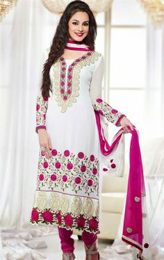 Picture of Elegant White Color Indian Salwar Suit Online Shopping