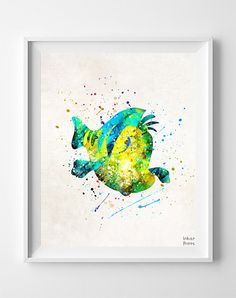 Flounder Print, Little Mermaid, Watercolor Art, Disney Poster, The Little Mermaid, Disney Decor, Mermaid Theme Room, Fathers Day Gift