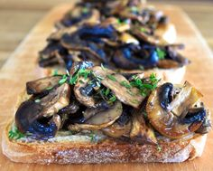 "Mushroom Bruschetta with Balsamic and Thyme - my ""go to"" weekend breakfast, ready in 10 minutes."
