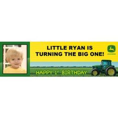 John Deere 1st Birthday Personalized Photo Banner