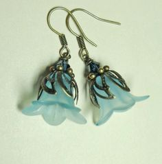 Jewelry Earrings Light Aqua Lucite Lily by SpiritCatDesigns, $5.00