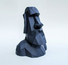 Paper statue of Easter island, Papercraft sculpture, Paper head, DIY template statue, Lowpoly statue, Polygon sculpture, FREE SHIPPING