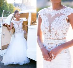 Sexy Backless Arabic Style Mermaid Wedding Dresses 2016 Cap Sleeves Full Lace Sweep Train Summer Bridal Gowns For Garden Outdoor Plus Size Bridal Dresses Online Cheap Gowns From Whiteone, $155.38| Dhgate.Com