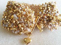 Champagne/Gold Embellished Peyote Bracelet by BUNNY123 on Etsy