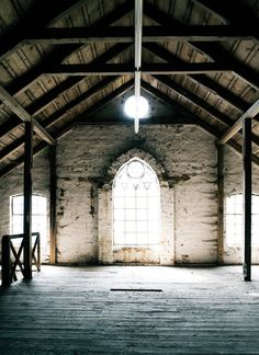 Amazing textural heaven....old open beams, old wood floors, stone walls & church windows...ahhhh <3