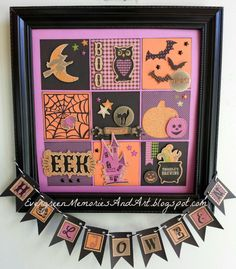 Join my long distance Seasonal Sampler Club and create this fun home decor for… Halloween Shadow Box, Halloween Frames, Halloween Art, Halloween Decorations, Halloween Scrapbook, Framed Art, Wall Art, Candy Cards, Fall Cards