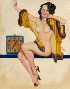 Earle K. Bergey (American, 1901-1952) Rise and Shine, Snappy magazine cover, February 1934 Oil on canvas with the clock paper cut-out adhered to the canvas 30 x 24 in. Signed center right