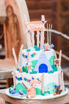 Camp Themed Birthday Cake from a Camping Outdoor Adventure Birthday Party on Kar.- Camp Themed Birthday Cake from a Camping Outdoor Adventure Birthday Party on Kara's Party Ideas Rustic Birthday, Outdoor Birthday, Adult Birthday Party, Birthday Gifts For Kids, Sweet 16 Birthday, Baby First Birthday, First Birthday Parties, Birthday Celebration, First Birthdays