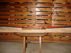 After struggling to wax skis on top of two chairs or a milk crate I decided to make my own ski waxing bench based loosely on other homemade . Xc Ski, Ski Rack, Milk Crates, Bike Path, Diy Bench, Cross Country Skiing, Wax, Garage, Chairs