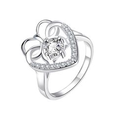 Curved Classic Crystal Stone Love Ring Size Women's