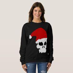 #women - #goth skull christmas womens sweatshirt