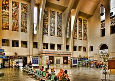 The interior design of the KTM (Malaysia Train station) in Singapore. It has closed down now.