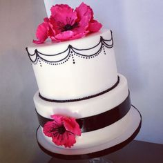 Black detail with hot pink flowers!!