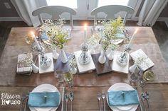 Contrasting metals and ceramics tablescape idea