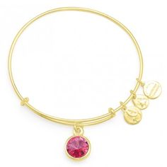 October Birthstone Charm Bangle - Known as the love stone, October's rose allows the wearer to continually give affection and express adoration. Wear the Rose birthstone to motivate kindness, forgiveness, and compassion.