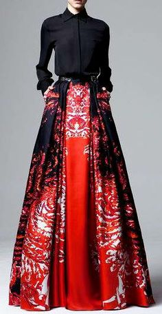 Zuhair Murad RTW Pre-FW 2014-15 | black blouse | floor-length flared skirt with painterly print | high fashion
