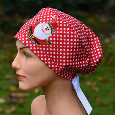 Womens Christmas Surgical Scrub Hat Chemo Cap The by thehatcottage